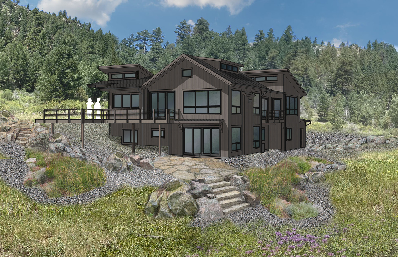 Rendering of Rustic Mountain home Project