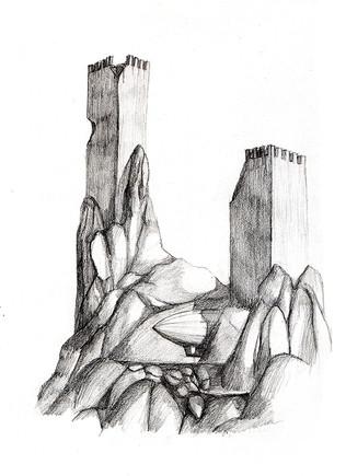 Castle Ruins and Blimp