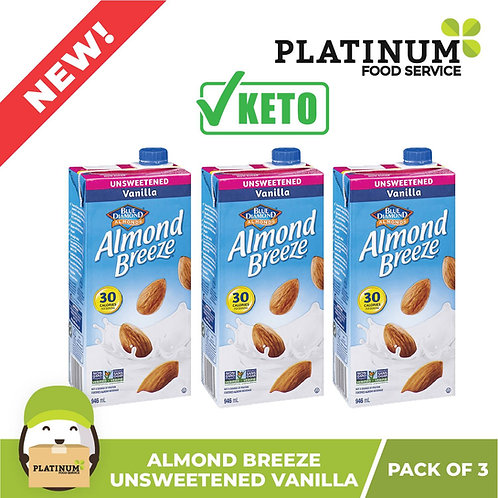 Almond Breeze Unsweetened Vanilla 946mL x 3