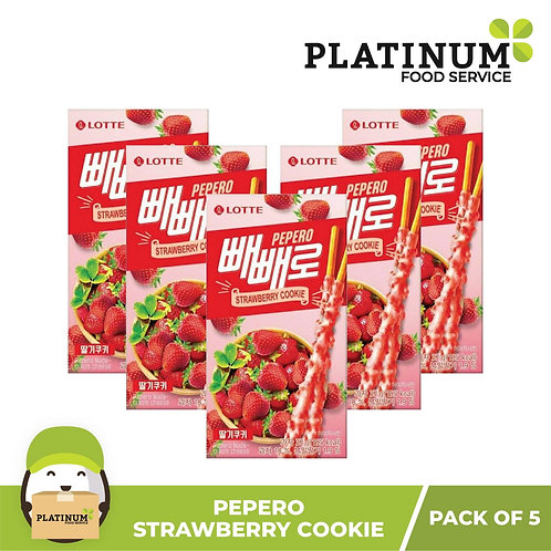 Lotte Pepero Strawberry Cookie 37g (pack of 5)