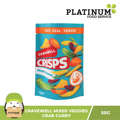 Cravewell Mixed Vegetable Crisps Crab Curry 40g