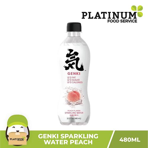 Genki Sparkling Water Peach Flavor 480mL