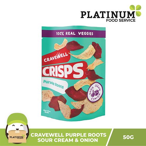 Cravewell Purple Root Crisps Sour Cream n Onion 40g