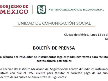 Circula acuerdo para diferir las cuotas del IMSS