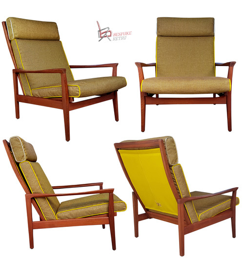 Bespoke Retro Presents The Chartreuse Chair. A Classic 60s Don Low Back  Lounger..... Covered In A Bold Retro Chartreuse Coloured Vinyl And A Micro  Check ...