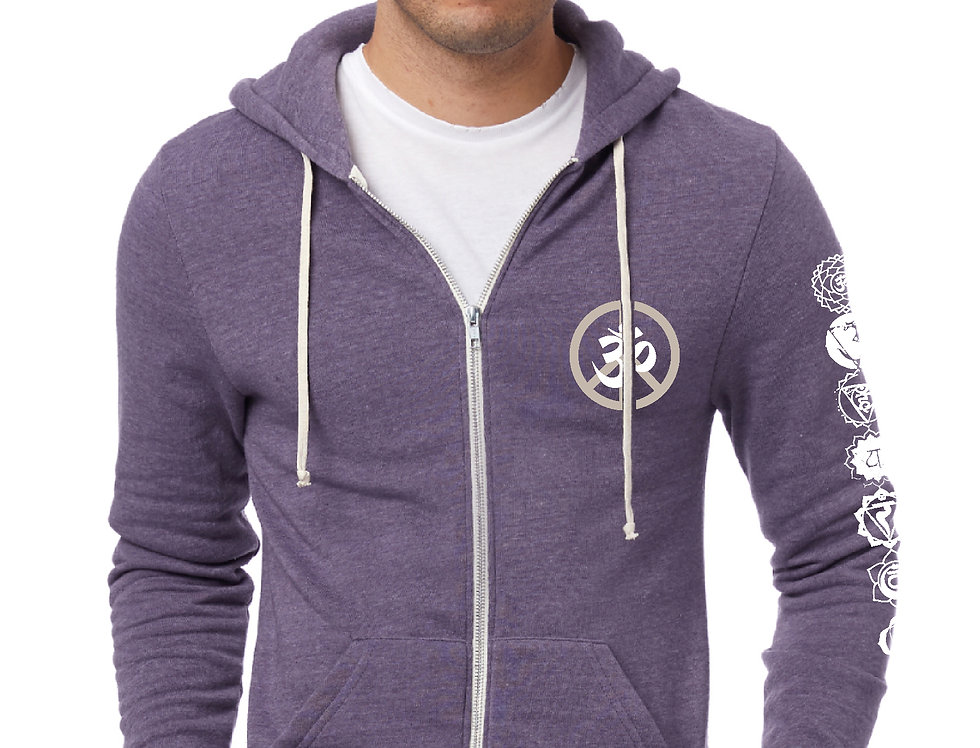 Omega OM Peace 7 Chakras Purple Eco Fleece Zip Hoodie