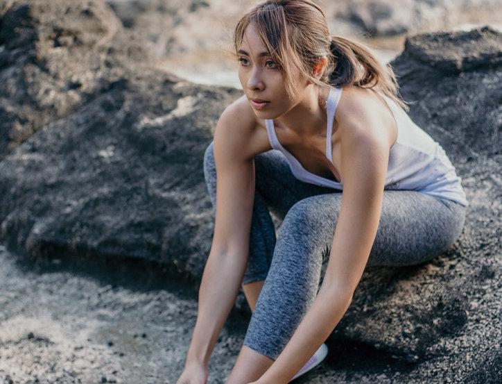 7/8 Black/White Heather Space Dye Yoga Legging