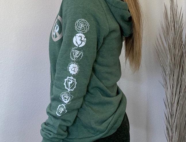 Omega OM Peace 7 Chakras Pine Eco Fleece Zip Hoodie