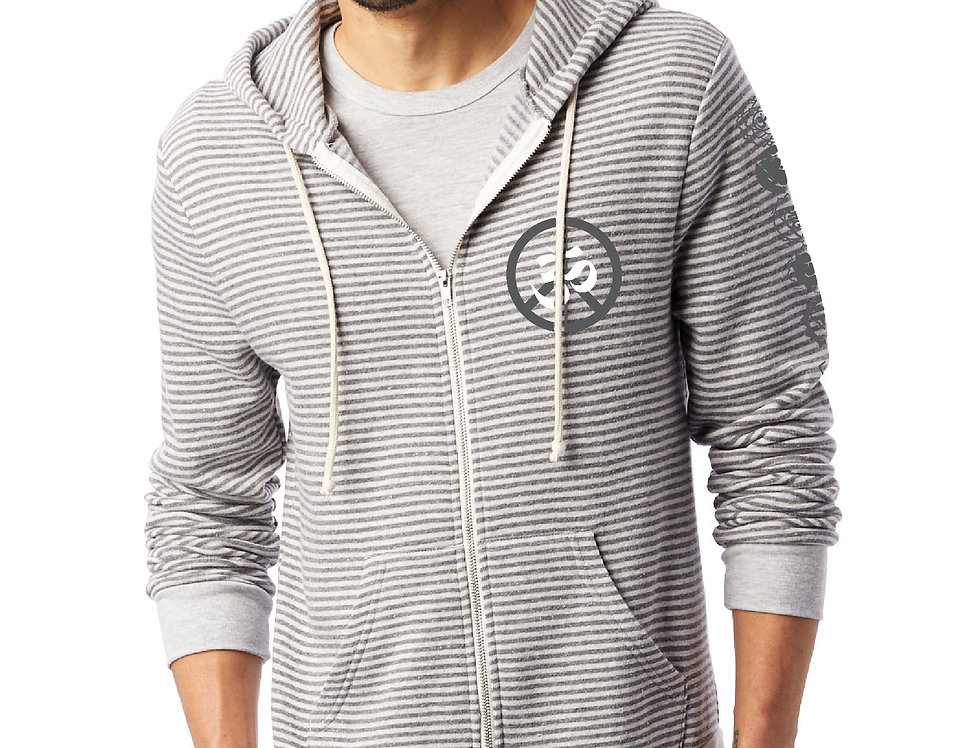 Omega OM Peace 7 Chakras Stripe Eco Fleece Zip Hoodie