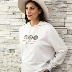 Custom Peace Love Om for Canyon Ranch on soft hip hoodie