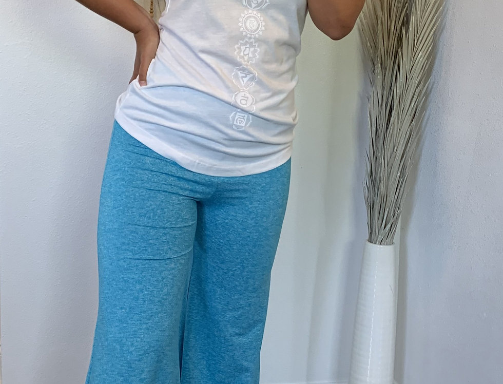 Turquoise Sueded V Waist Palazzo Pant