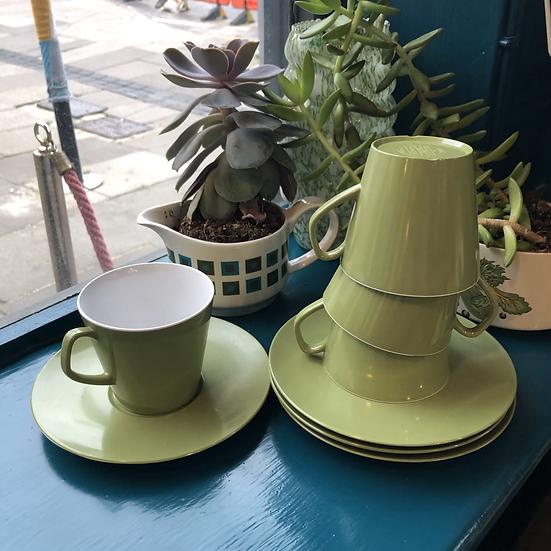 Vintage Olive Melaware Cup and Saucer set