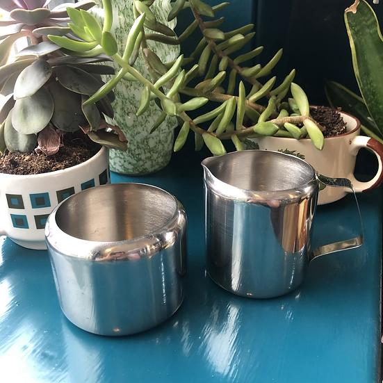 Stainless Steel Sugar Bowl and Jug set