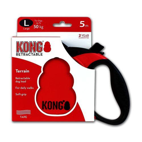 Guia Retrátil Kong Terrain Vermelha Cães