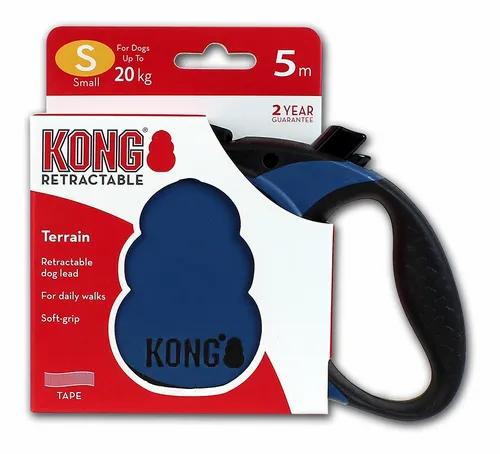 Guia Retrátil Kong Terrain Azul Cães