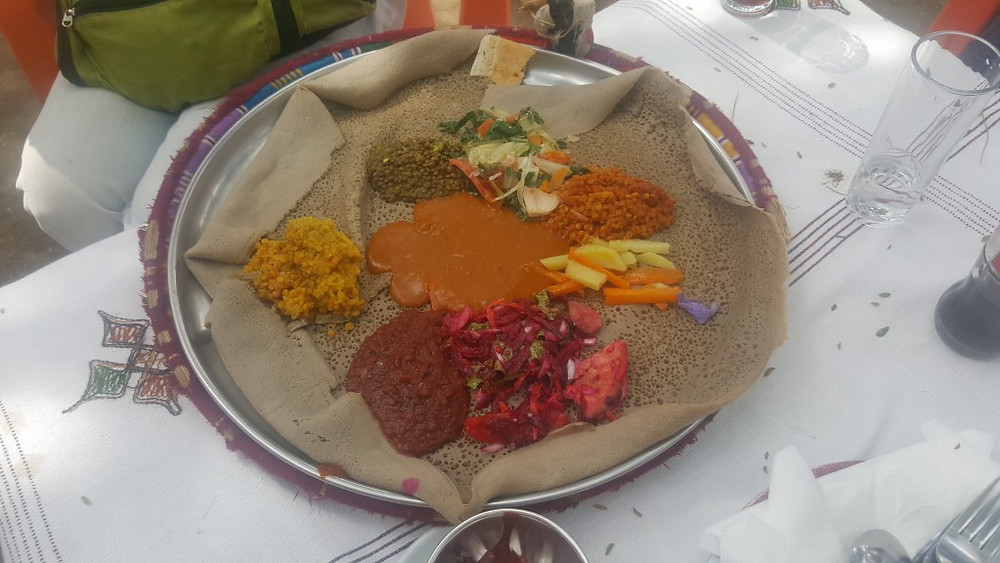 A typical Ethiopian fasting plate.