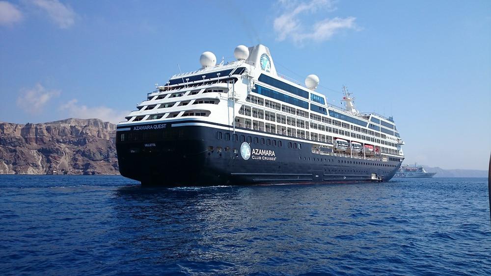Azamara Quest in Santorini Harbour