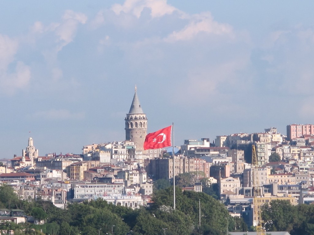 On approach to the Golden Horn, an enormous Turkish flag.