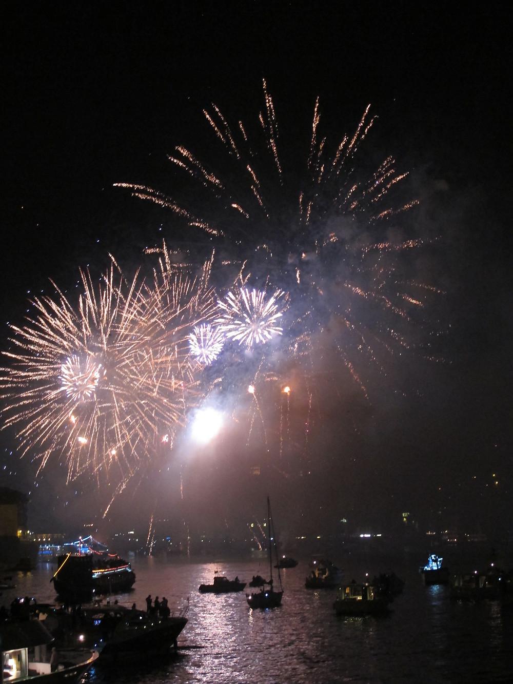 Sao Joao fireworks in Porto from the Do'uro River.