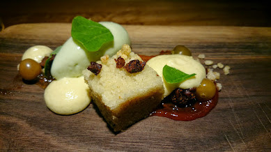 Succotash styled dessert with miniature brown tomatoes