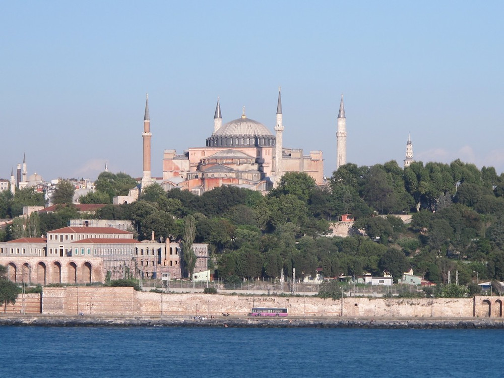 Blue Mosque and Sultanahmet from the Sea of Marmara.