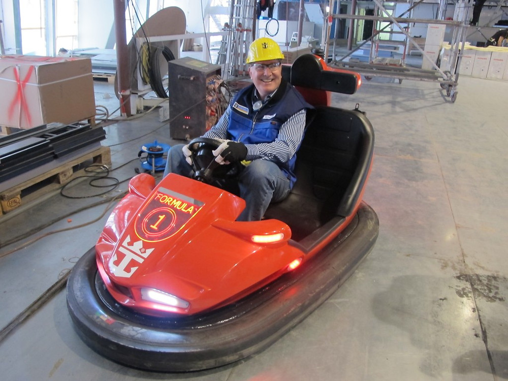 Richard enjoys the dodgem car at the new Sea Plex