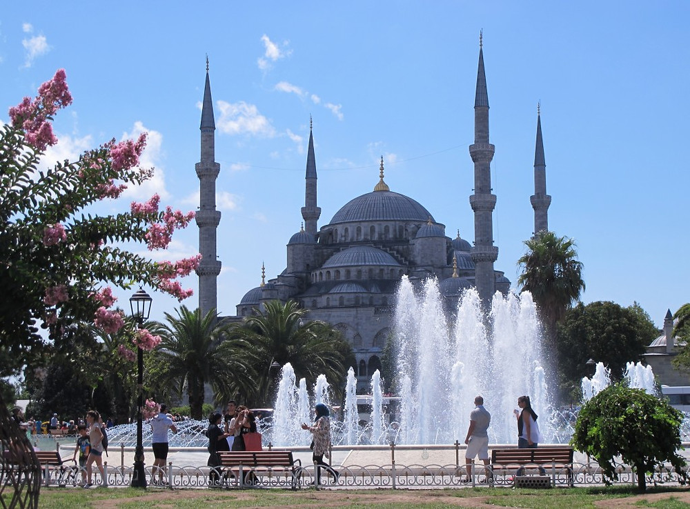 Fountains in front of the Blue Mosque, Istanbul