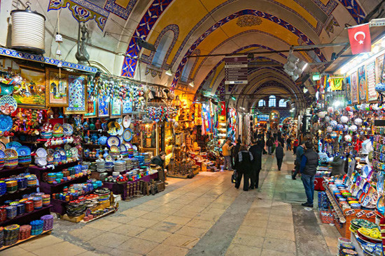 Colourful goods for sale in Grand Bazaar