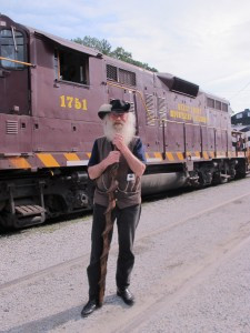 Storyteller Tim at historic train depot, Bryson City, North Carolina
