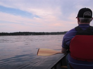 Canoeing at sunset on Manitoulin Island