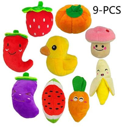 Squeaky Fruits and Vegetables Plush Puppy Dog Toys