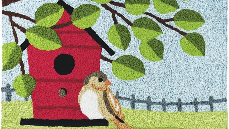 Birdhouse Perch Machine Washable Rug
