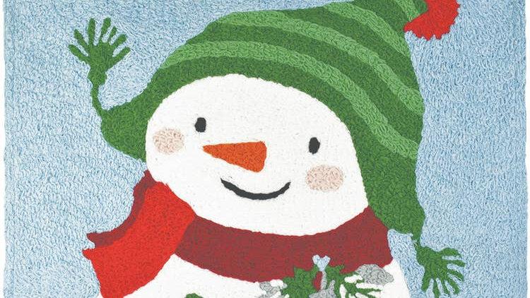 Snowman in Ski Hat Machine Washable Rug