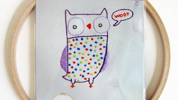 Owl Embroidery Wall Art Kit