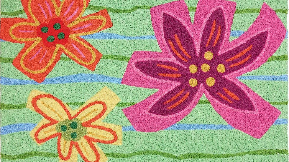 Washable Crayon Hibiscus Rug