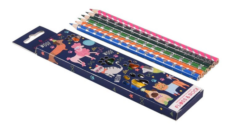 Pets pack of 6 Pencils