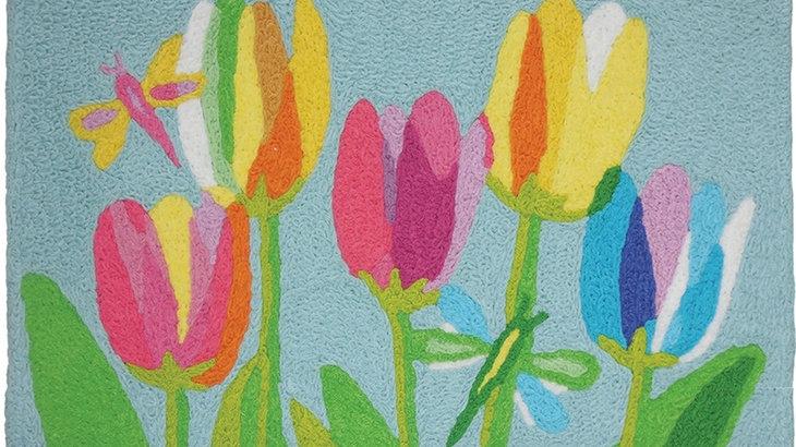 Tulips & Dragonflies Machine Washable Rug