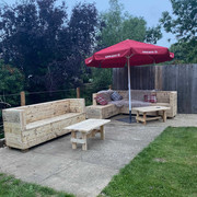 Reclaimed Rustic Wooden Benches Outdoor BBQ Seating Area