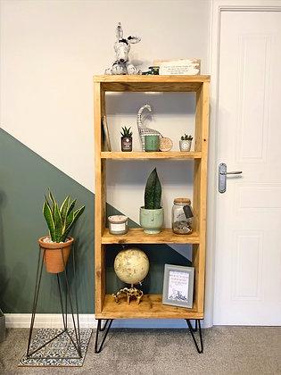 Reclaimed book case shelves on hair pin legs