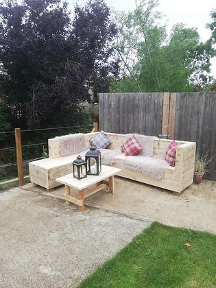 Reclaimed Outdoor L Sofa and Coffee Table