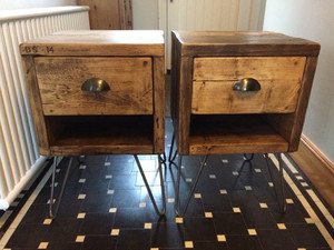 Reclaimed Rustic Wooden Bedside Tables with Drawers