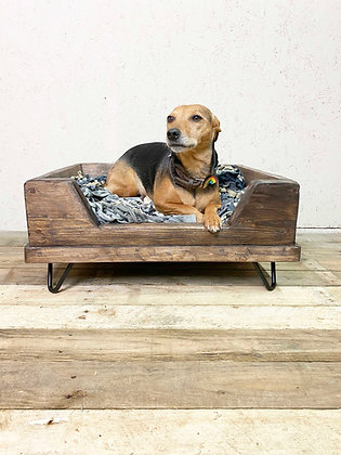 Reclaimed Rustic Dog Bed on Black Hair Pin Industrial Legs