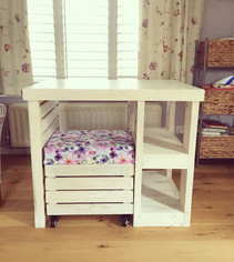 Rustic Wooden Craft Desk with Seat and Storage