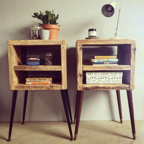Reclaimed Rustic Wooden Bedside Tables