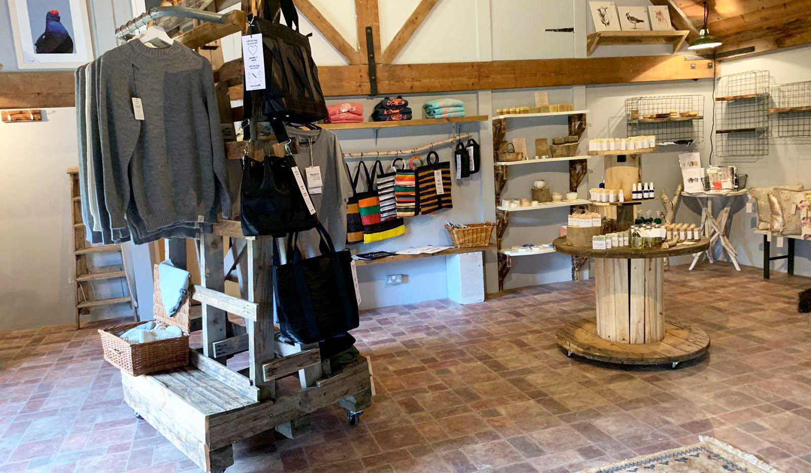 Reclaimed, sustainable retail displays for The Grain Loft