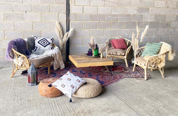 Cane Sofa chill out area rustic boho .jp