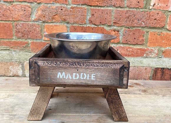 Small Reclaimed Dog Bowl Stand