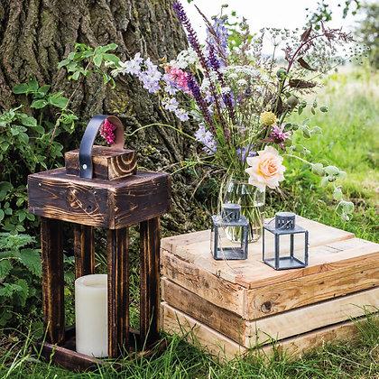 Reclaimed Rustic Dark Wood Lanterns