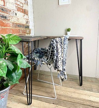 Reclaimed Industrial Corner Desk With Hair Pin Legs