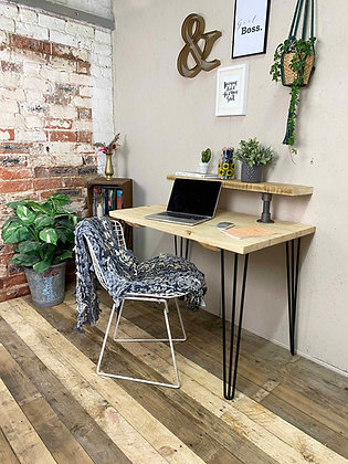 Industrial Upstand, Reclaimed Rustic Industrial Desk With Black Hair Pin Legs